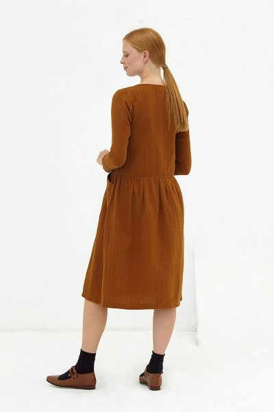 Vestido midi muselina marrón Dusty