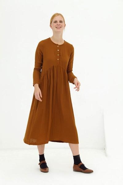 Vestido largo muselina marrón Dalia