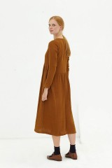 Vestido largo muselina marrón Dara
