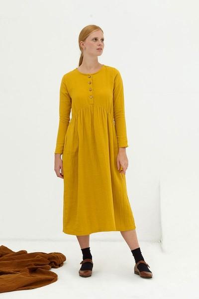 Vestido largo muselina mostaza Dara