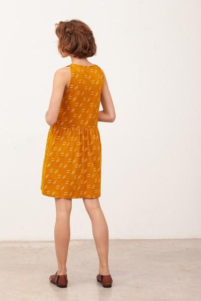 Vestido escote V Brisa Mostaza