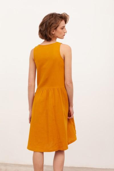 Vestido midi muselina Blossom Mostaza