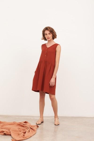 Vestido reversible muselina Brigitte Teja