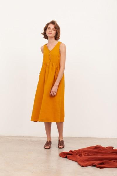Vestido largo muselina Brooke Mostaza
