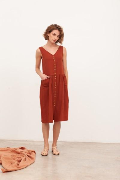 Vestido de muselina escote V Brunella Teja