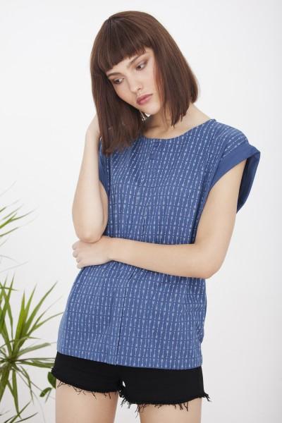 Camiseta Helena azul/flechas oversize
