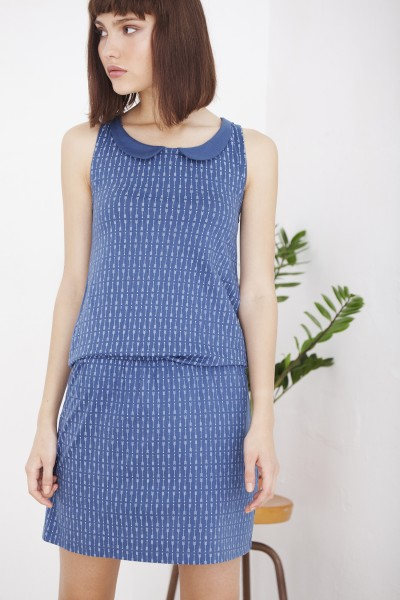 Vestido Helen cruzado estampado azul