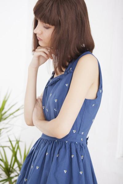 Helvia blue printed vintage dress