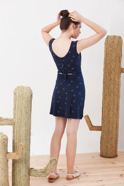 Vestido REVERSIBLE Idoia color azul marino estampado pájaros de origami.