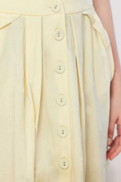 Yellow plain butoned skirt 100% organic cotton