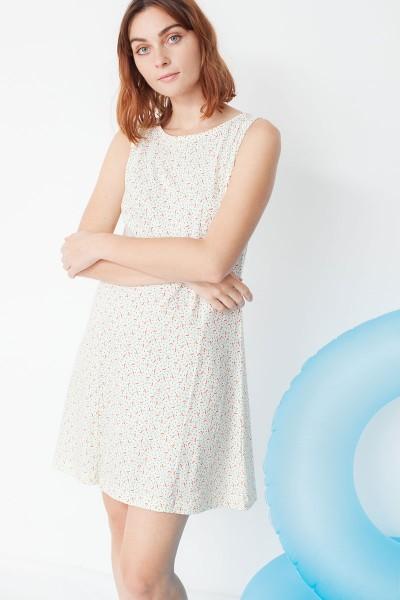 Vestido ecológico Mariel evasé con estampado geométrico y moda sostenible