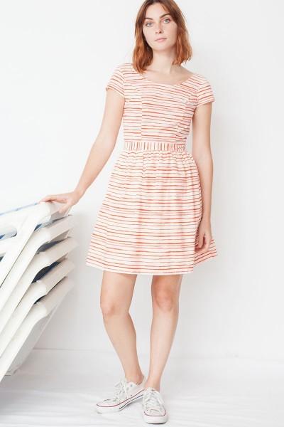 Vestido ecológico Moira de manga corta con botones traseros y estampado rayas marineras