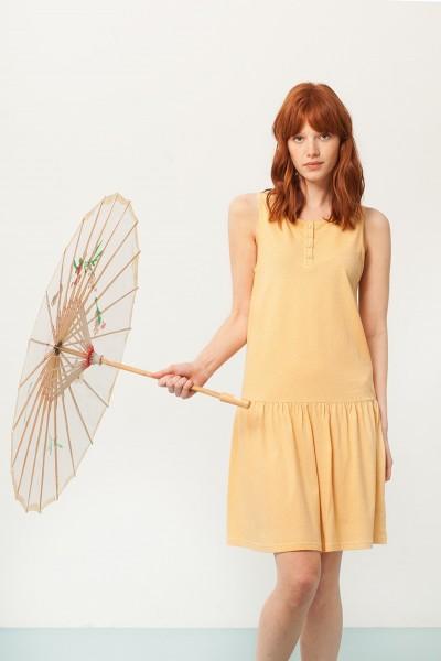 Vestido Charlestón Penélope amarillo estampado japonés