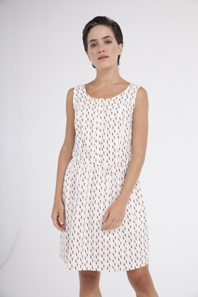 Padme back neckline dress in cream and abstract print