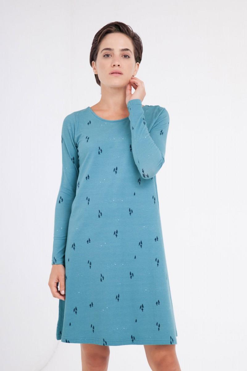 Vestido Carola Evasé color azul ópalo.