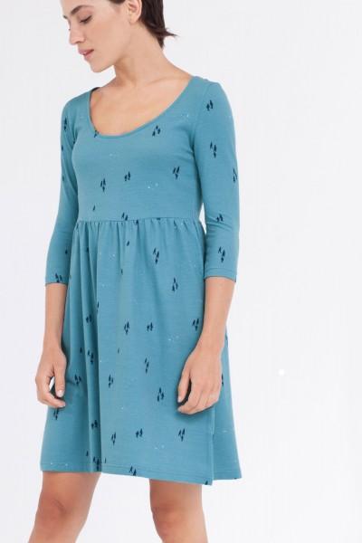Vestido Carlona corte imperio azul ópalo.