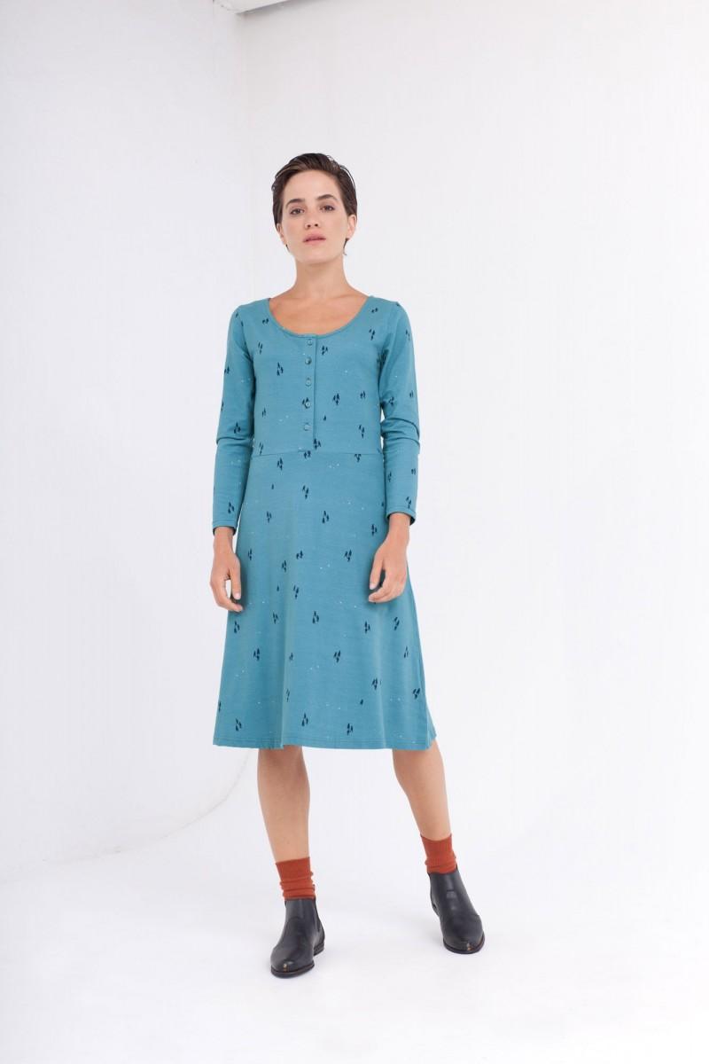 Vestido Cynthia falda midi azul ópalo.
