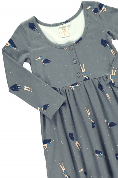 """Grey """"Classic"""" dress with """"Dancing in cosmos"""" print"""