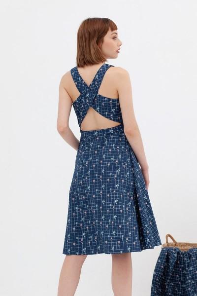 Vestido espalda cruzada azul vintage Aitana