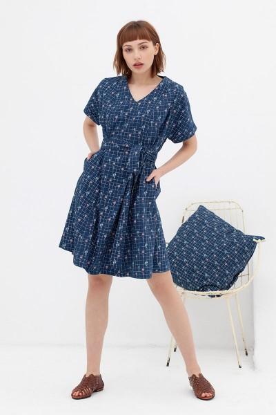 vestido corte japonés azul vintage Amaya