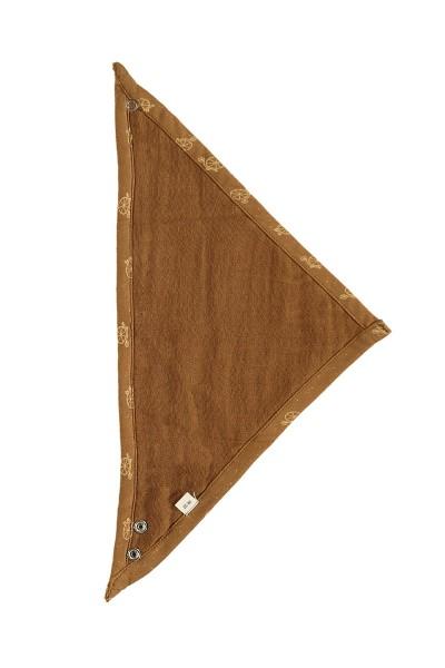 Babero reversible marrón estampado