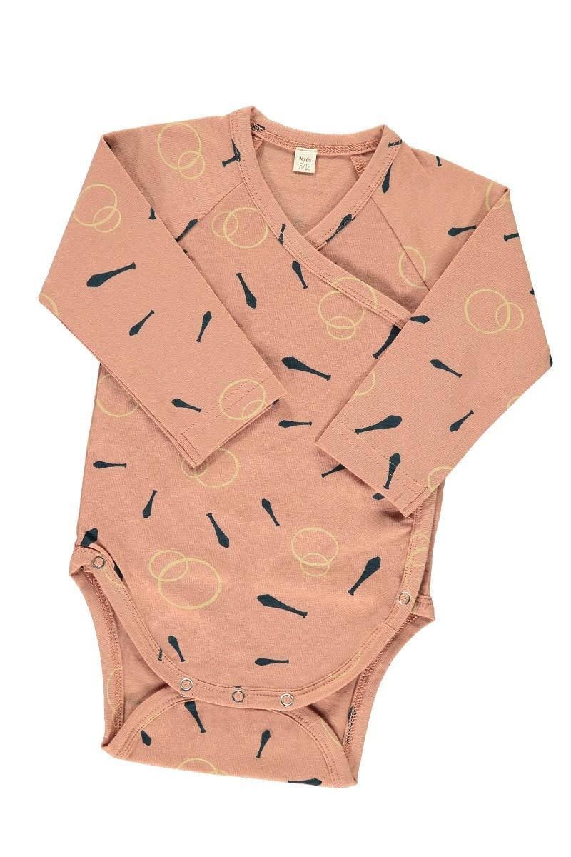Body kimono rosa estampado malabares