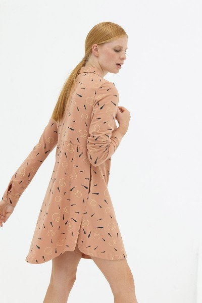 Vestido evasé camisero rosa pastel Delphine