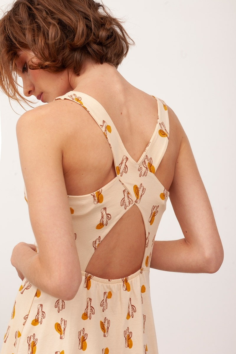 Vestido espalda cruzada Betty Beige