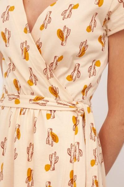 Vestido Abierto Cruzado cinturón Bruna Beige