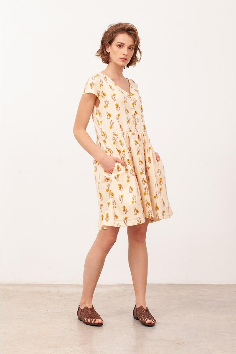 Vestido Escote lazo Belinda Beige