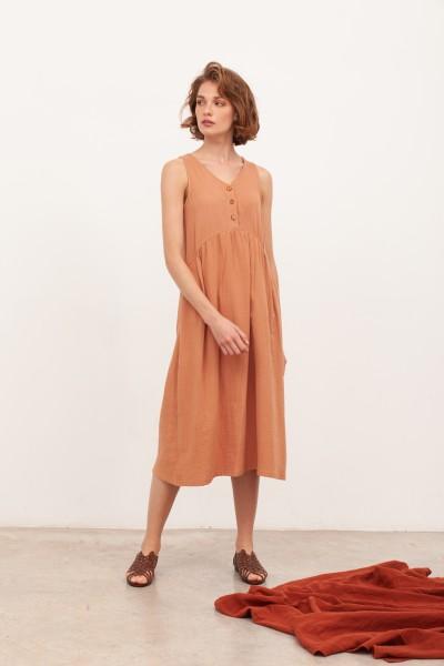 Vestido largo muselina Brooke Nude