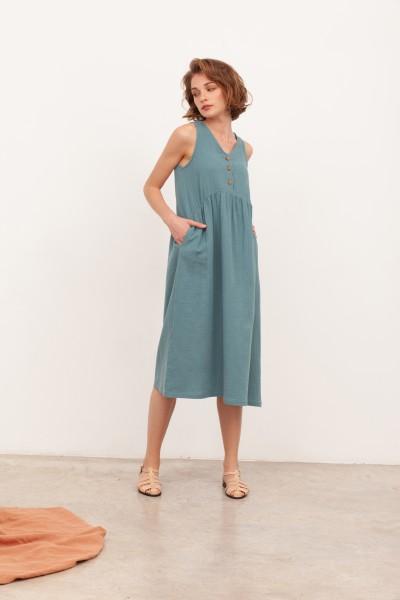 Vestido largo muselina Brooke Azul