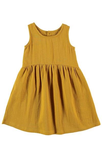 Vestido muselina reversible Mostaza