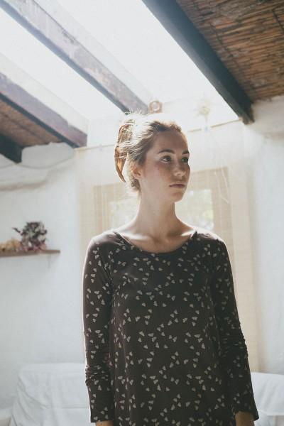Suny evasé blouse in brown
