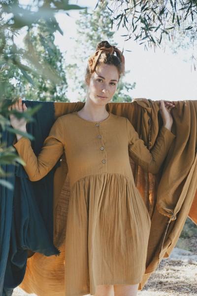 Sahar short dress in mustard